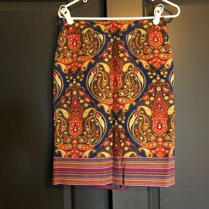 Merona Paisley Colorful Fall Pencil Skirt Size 4
